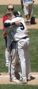 Senior Mattie DeDoes and his GR catcher, Conor Dishman, after their final game together